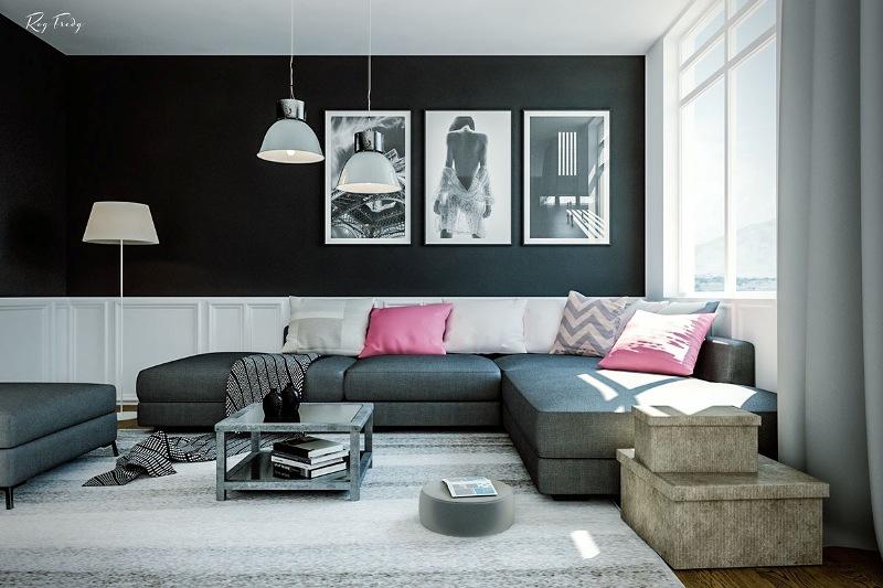 гостиная в черном цвете13