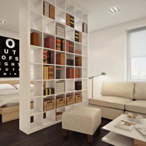 Комната на две зоны спальня и гостиная