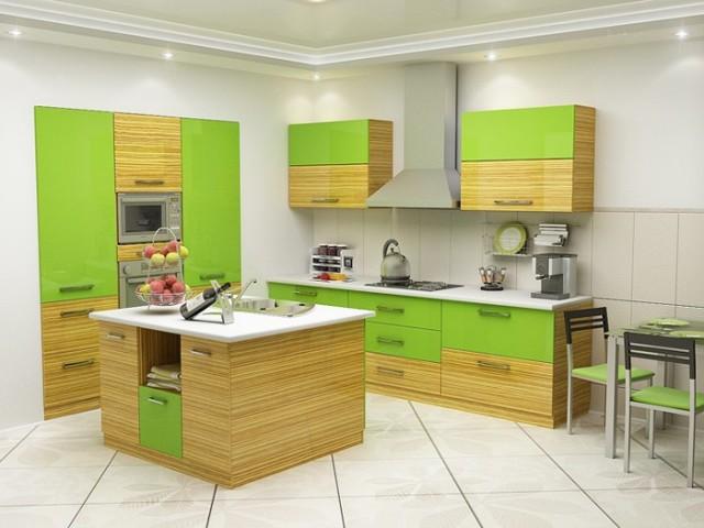 дизайн кухни в зеленом цвете_2