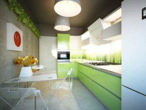 дизайн кухни в зеленом цвете_3