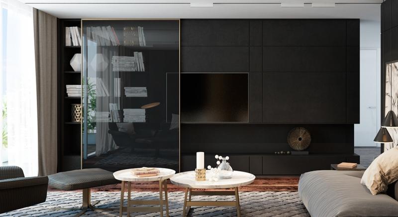 гостиная в черном цвете1