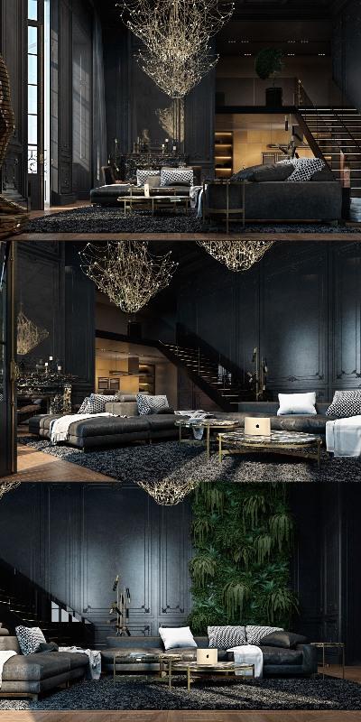 гостиная в черном цвете6