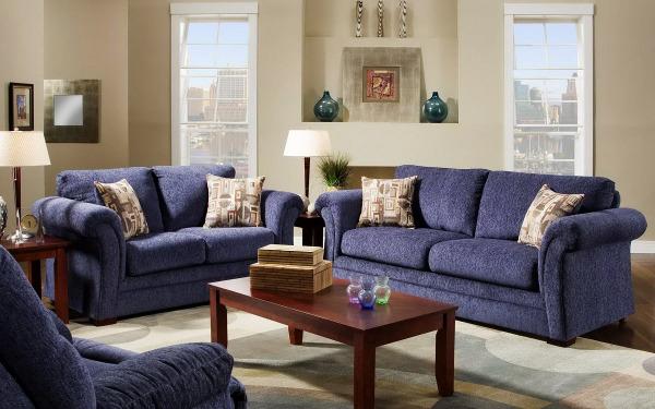 синяя мебель в интерьере