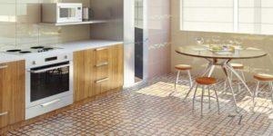 варианты пола для кухни мозаика