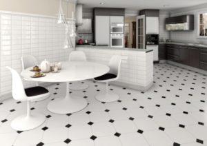 варианты пола для кухни плитка