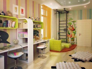 зонирование детской комнаты мебелью